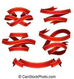 bannières, ensemble, rouges, (vector)