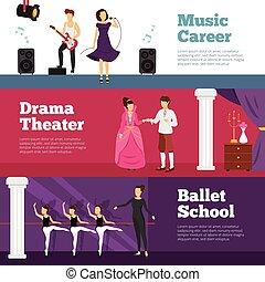 bannières, ensemble, théâtre, gens