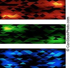 bannières, ensemble, triangulaire, mosaïque