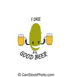 bannières, lunettes, inscription, bon, autocollants, simple, design., autocollants, bière, illustration, aimer, logos, vecteur, cactus