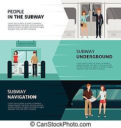 bannières, métro, gens
