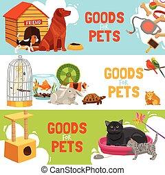 bannières, marchandises, horizontal, animaux familiers