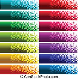 bannières, pixel, coloré