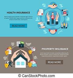 bannières, propriété, soin médical, assurance