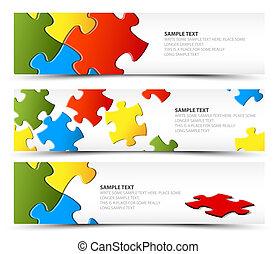 bannières, puzzle, ensemble, horizontal
