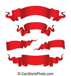 bannières, rouges, (vector)