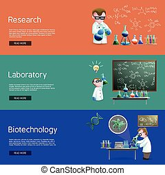 bannières, science, recherche