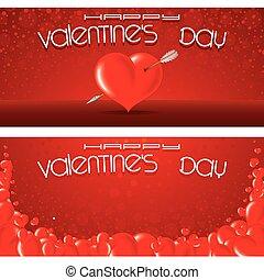 bannières, vecteur, jour, gabarit, valentines