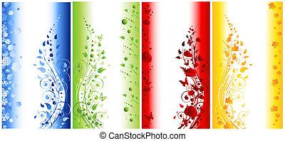 bannières, vertical, résumé, saisons, illustration, quatre