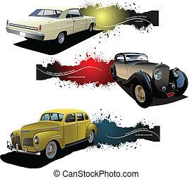 bannières, vieux, voiture., vecteur, trois