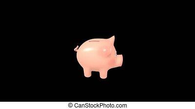 banque, 3d, channel., alpha, porcin, animation