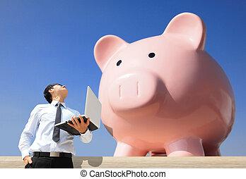 banque, argent, économie, porcin, mon
