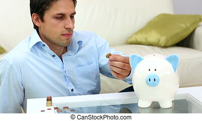 banque, argent, porcin, mettre, mignon, homme, jeune