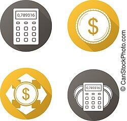 banque, long, plat, conception, ombre, finance., icônes, ensemble