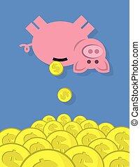 banque, pièces, porcin, tomber