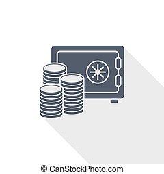 banque, plat, argent, vecteur, illustration, conception, concept, icône, sûr, business
