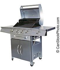barbecue, blanc, coupure, fond