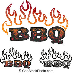 barbecue, flammes, graphiques