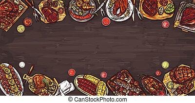 barbecue, grillé, vecteur, saucisses, légumes, culinaire, sauces., fond, illustration, bannière, viande