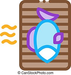 barbecue, icône, contour, illustration, fish, vecteur, cuisine