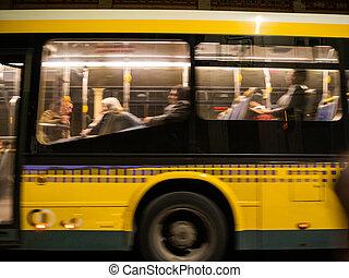 barbouillage, intérieur, autobus, vue, public, commuer, voyageurs, silhouettes, transport