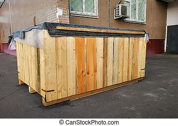 barbouillage, très, bois, résidentiel, fond, appartement, grand, rue, gros plan, doux, bâtiment., entrée, foyer, boîte, debout