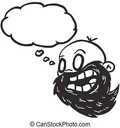 barbu, chauve, pensée, noir, blanc, bulle, homme