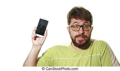 barbu, concept, fâché, screen., gadget., cassé, smartphone, projection, homme