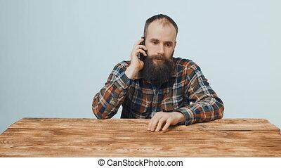 barbu, conversation, téléphone portable, hipster, homme