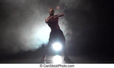barbu, danse lente, mouvement, arrière-plan., nu, fumée, bande, homme