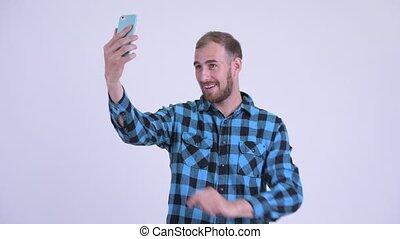 barbu, prendre, hipster, heureux, selfie, homme