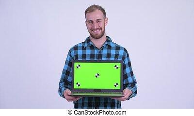 barbu, projection, hipster, heureux, ordinateur portable, homme