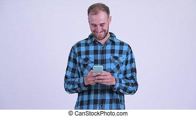 barbu, téléphone, hipster, utilisation, homme, heureux