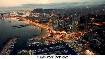 barceloneta, barcelone, plage nuit, lumières, méditerranéen, célèbre