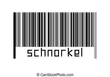 barcode, digitalization, schnorkel, concept., horizontal, noir, inscription, lignes