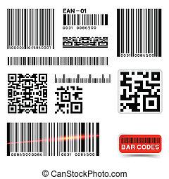 barcode, vecteur, collection, étiquette