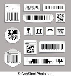 barcode, vecteur, ensemble, autocollant, étiquette