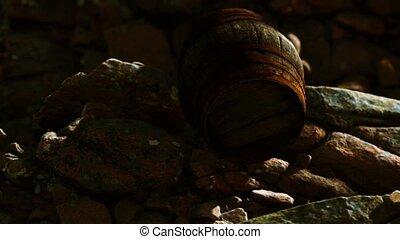 baril bois, vieux, rochers