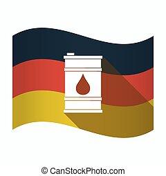 baril, drapeau, huile, allemagne, isolé