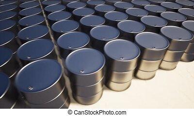 baril, huile, métal, sable