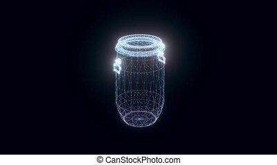 baril, plastique, hologramme, tourner