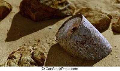 baril, sable, métal, rouillé, huile, plage