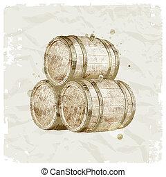 barils, grunge, ilustration, bois, vendange, -, main, papier, vecteur, fond, dessiné