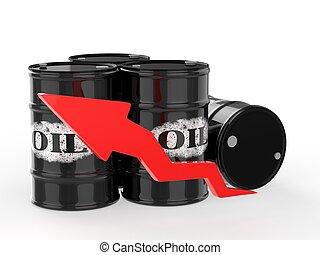 barils, haut., huile, flèche rouge