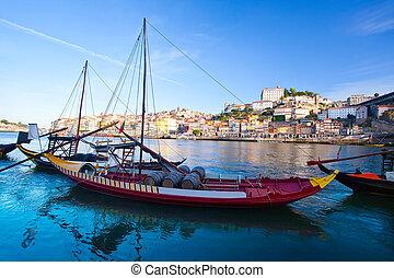 barils, porto, portugal, traditionnel, vieux, bateaux, vin