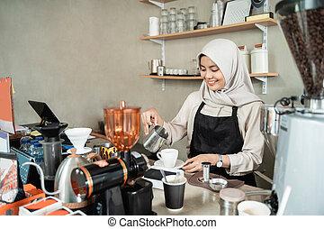 barista, client, café, faire