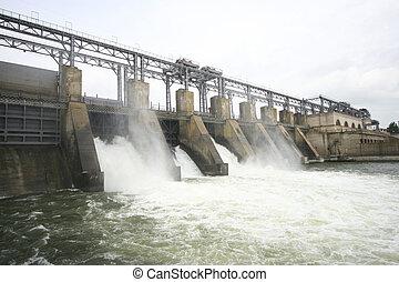 barrage, rivière, hydroélectrique