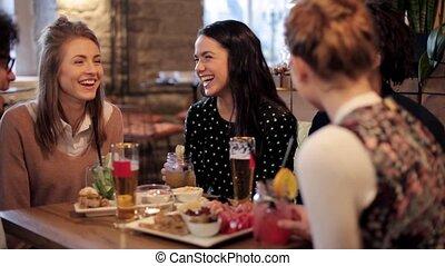 barre, heureux, tintement, boissons, amis