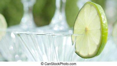barre, martini, cocktails, fête, ou, rouges, lunettes