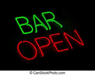 barre, ouvert, signe néon